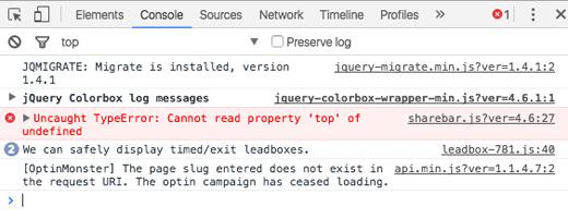 Error de la consola del navegador