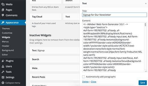 Formulario de registro en widget