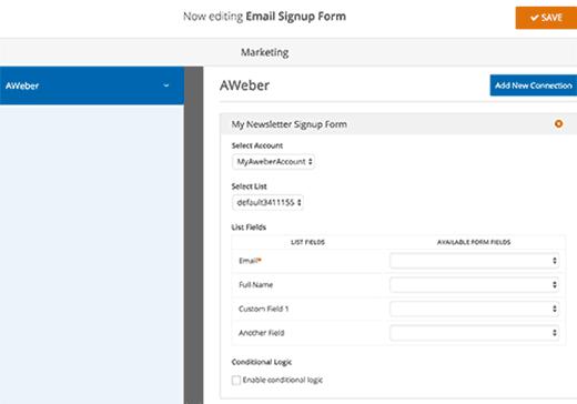 Conecte los campos del formulario a los campos de la lista de correo electrónico