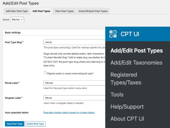 Editando tipos de publicaciones con CPT UI plugin