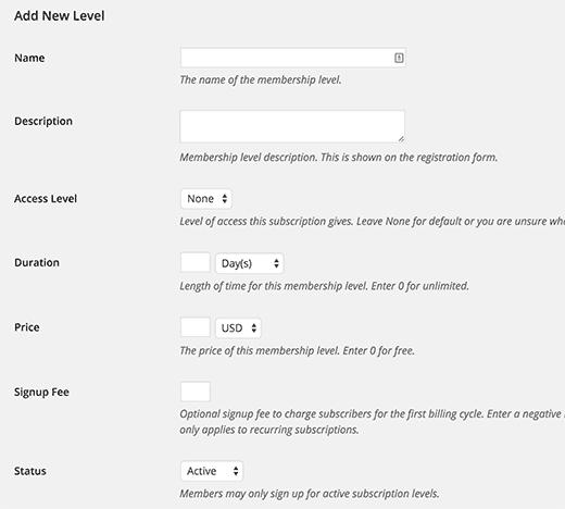 Agregar un nuevo nivel de suscripción en Restrict Content Pro