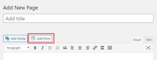 Agregar un formulario a la página usando el editor clásico de WordPress