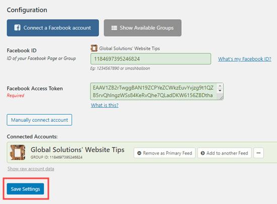 Haga clic en el botón Guardar debajo de los detalles de su cuenta conectada para guardar sus cambios