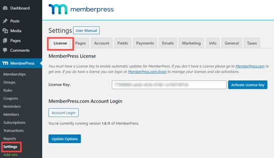 Ingrese su clave de licencia de MemberPress