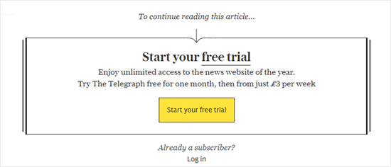 Paywall del Daily Telegraph