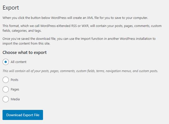 Las opciones de exportación integradas en WordPress