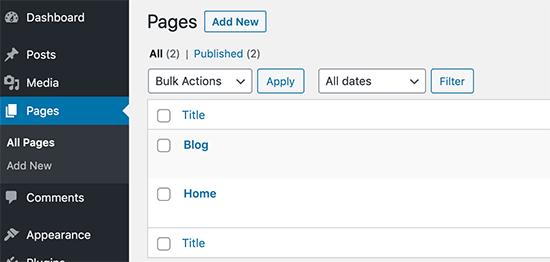 Publica blogs y páginas de inicio en WordPress