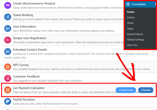 Elección de la plantilla de formulario de calculadora de pago de automóvil en WordPress