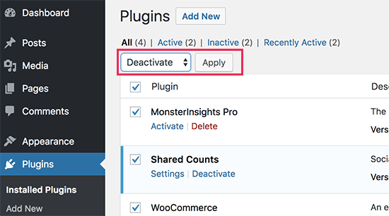 Desactivar todo plugins