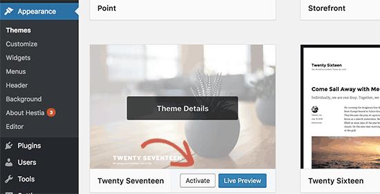 Cambiar a un tema predeterminado de WordPress