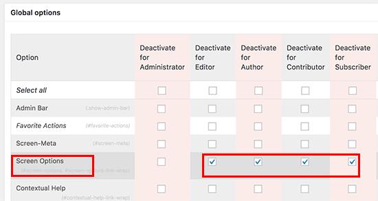 Desactivar el botón de opciones de pantalla