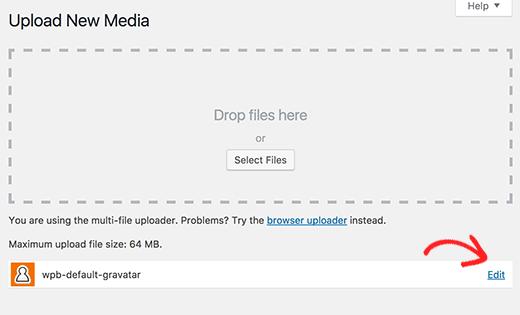 Cargar y editar la imagen gravatar predeterminada personalizada