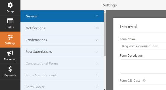 Configuración de formulario general