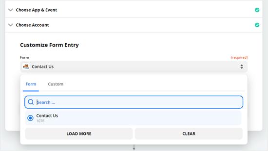 Elija el formulario que desea utilizar de la lista desplegable