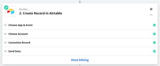 Haga clic en el botón 'Finalizar edición' para terminar de crear su zap