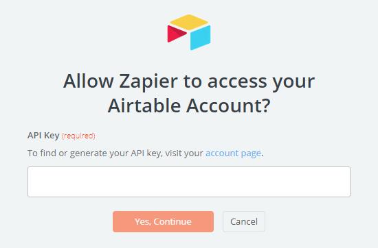 Ingrese su clave API de Airtable