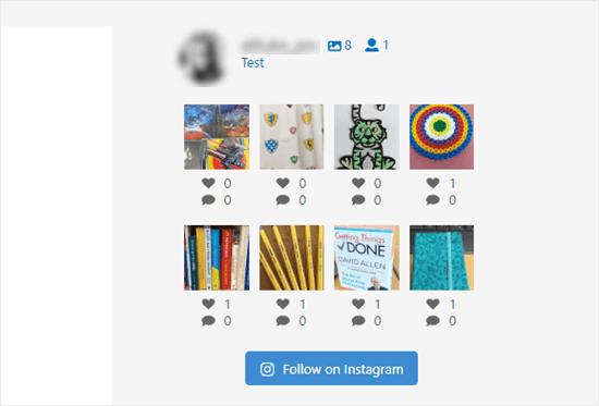 Las fotos de Instagram en la barra lateral sin subtítulos
