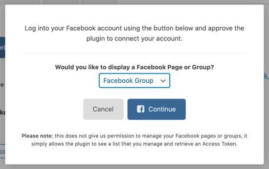 Conectar grupo de Facebook
