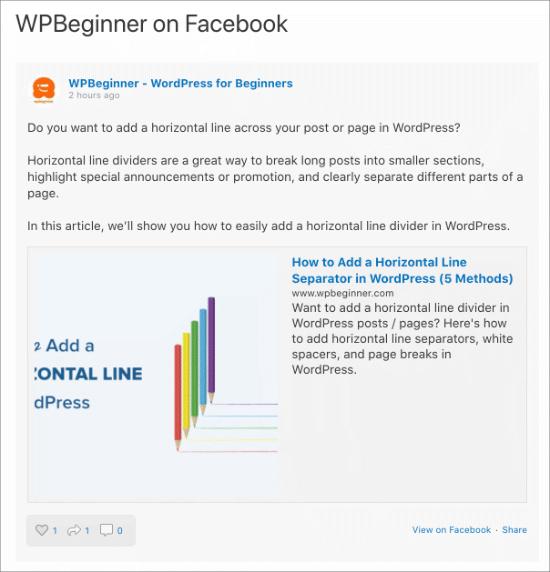 Feed de Facebook en la página de WordPress