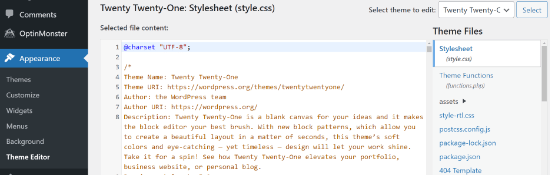 Editor de temas de WordPress