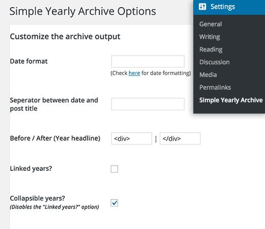 Configuración de archivo anual simple
