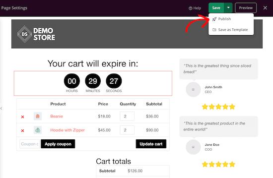 Página de carrito personalizada de WooCommerce