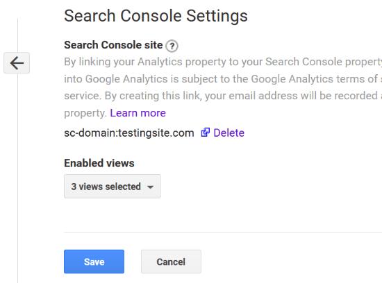 Ver la Consola de búsqueda conectada con Analytics