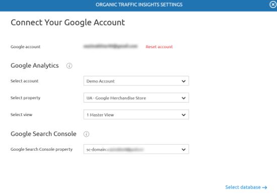 Ingrese los detalles de Analytics y Search Console