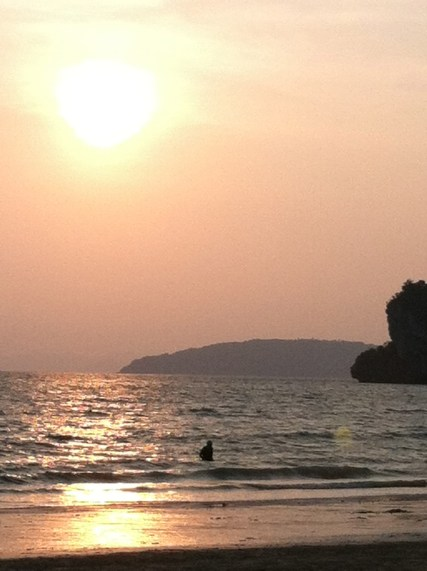 My dad at sunset on west Railay Beach