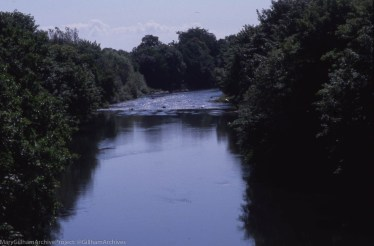 View down from calm to riffle, from Radyr Junction Mineral Line Bridge, 2000