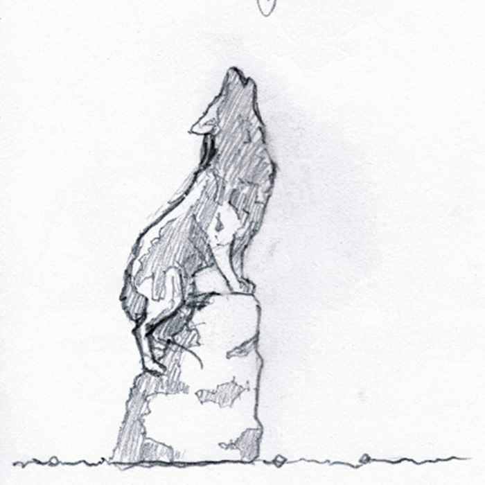 Drawing of a sculpture of a wolf on a rock