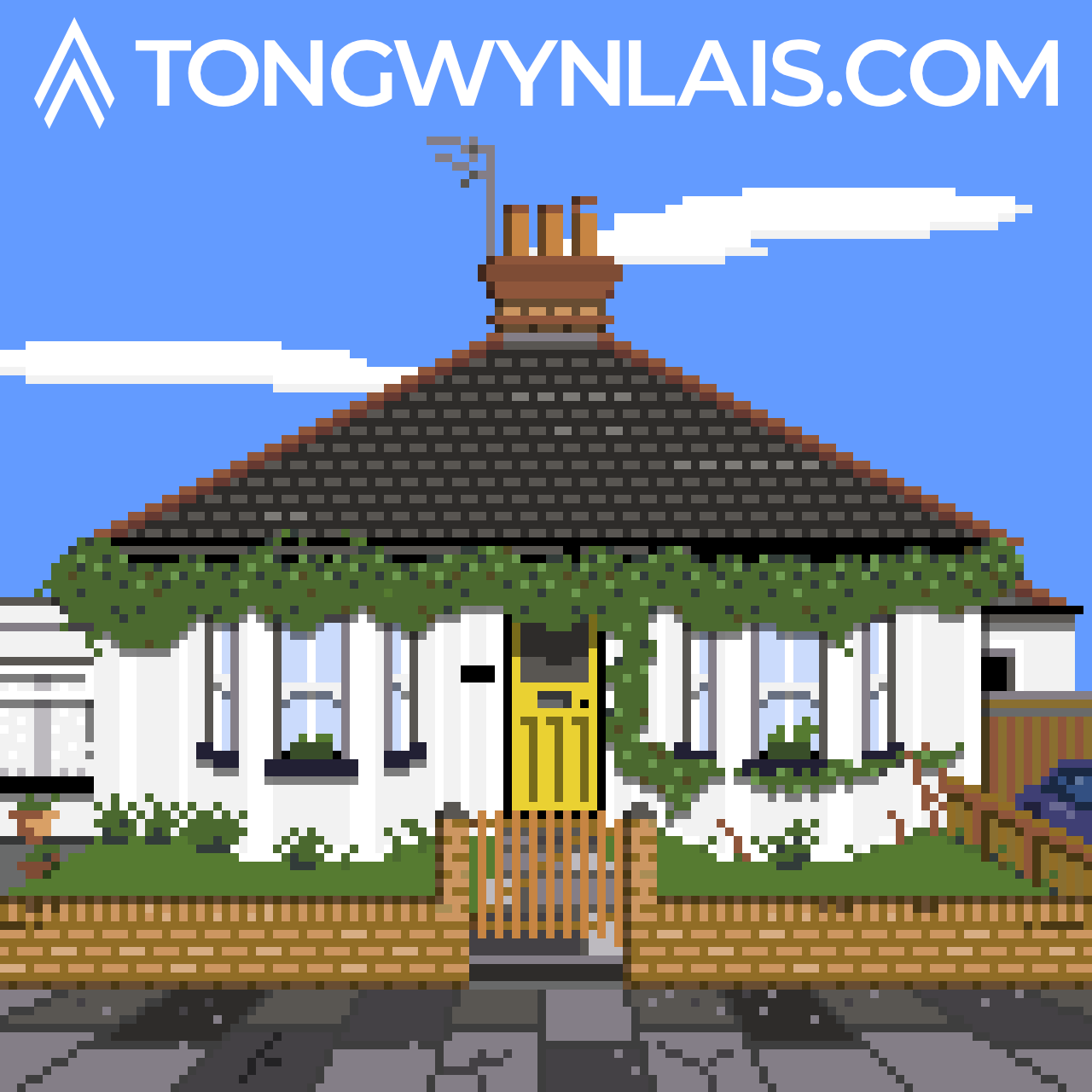Pixel art illustration of a bungalow