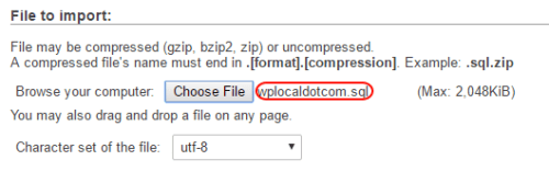 Importing a WordPress database backup