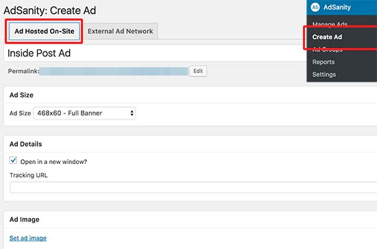 Create hosted ad