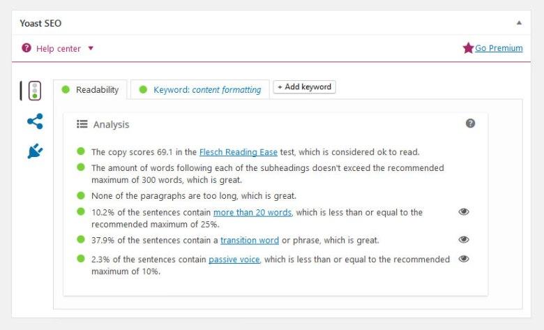yoast seo readability analysis
