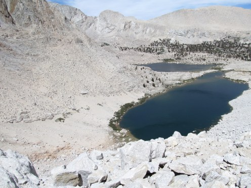 looking down at Lake #4 from the top of Old Army Pass