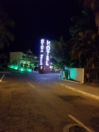 Entrance to Quinta Bella. View at night.
