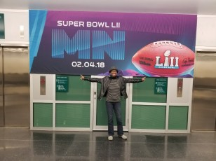 Back in Minneapolis/St. Paul airport - Super Bowl sign
