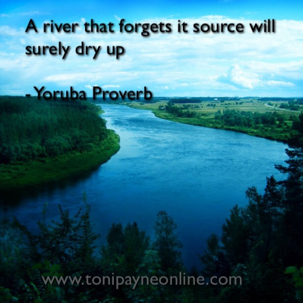 Yoruba Proverb about River source appreciation