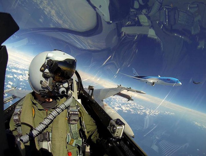 F-16 pilot Captain Jeroen Dickens, took selfie as he flew alongside Arkefly airline's first 787-8, the first Dreamliner in the Netherlands Picture Credit: ROYAL NETHERLANDS AIR FORC