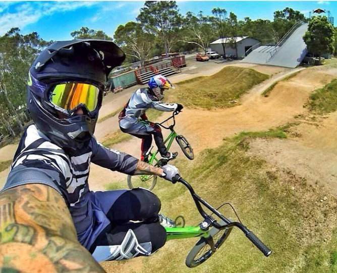 I dont think you wan to try this daring bike jump and selfie action