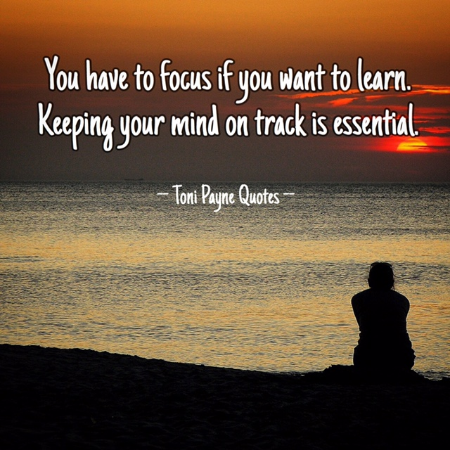 Quote about learning by staying focused and being on track ...