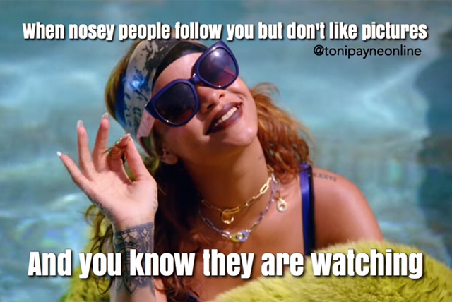 Funny Meme about Nosey Social Media Followers who Lurk