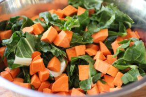 Swiss chard and sweet potatoes
