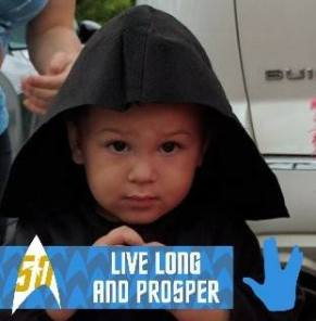 My second-born (S2) keeping up the family sci-fi tradition by mixing up Star Wars and Star Trek