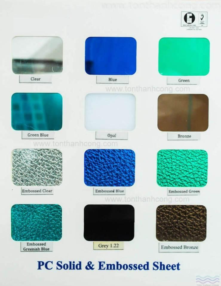 Bảng Màu - Tấm Polycarbonate Lấy Sáng
