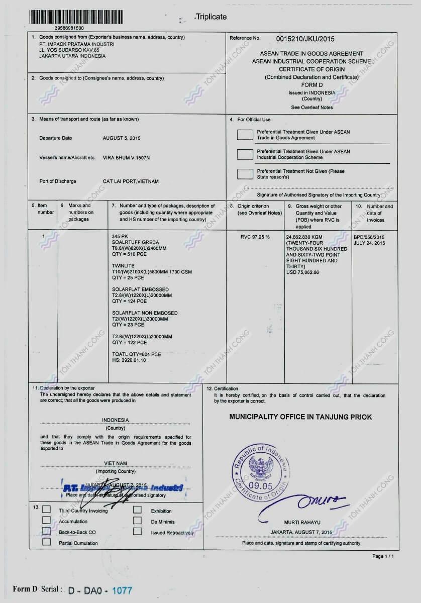 CO - SolarFlat - Tấm Polycarbonate Lấy Sáng Đặc Ruột Indonesia