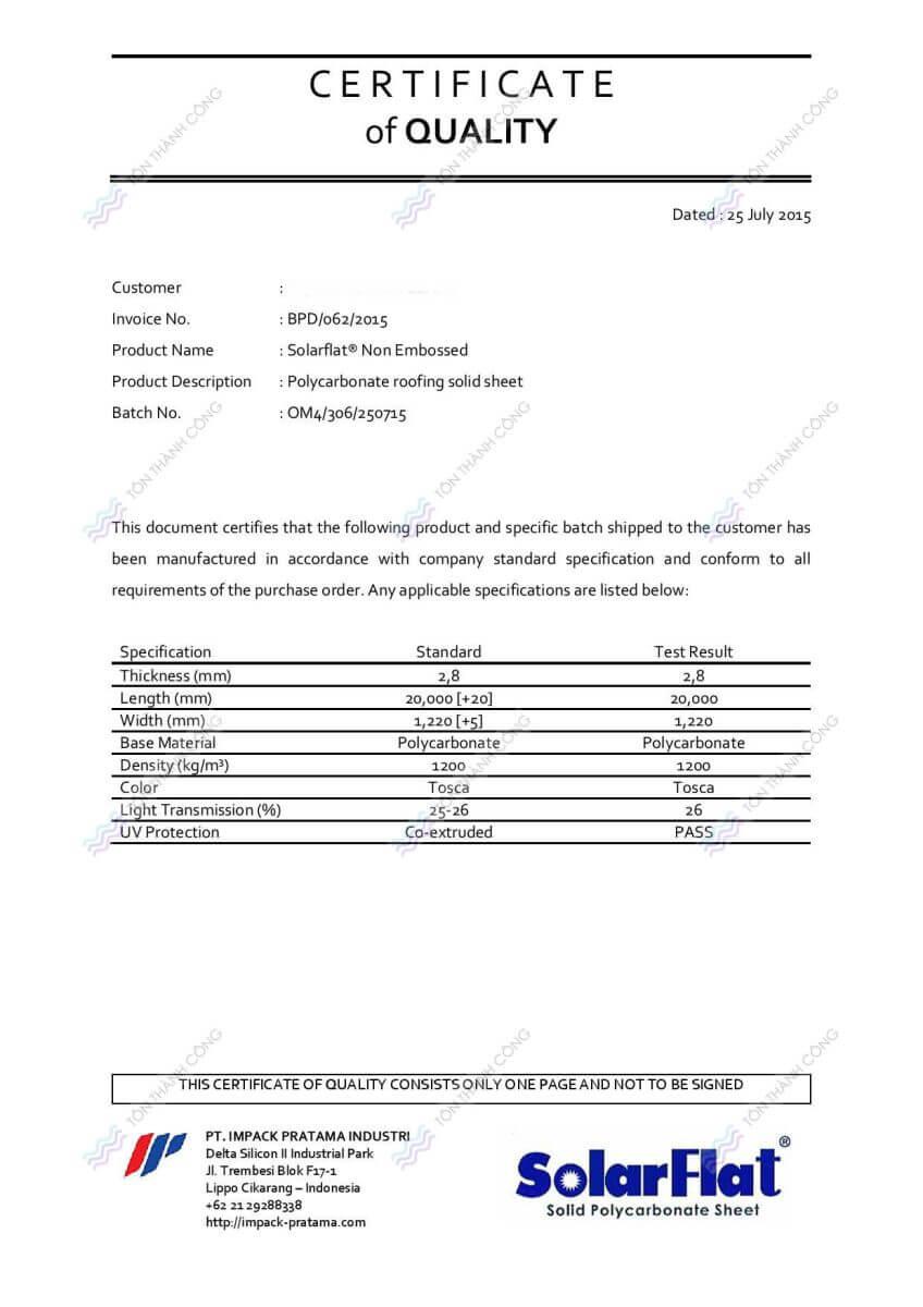 CQ - Certificate of Quality - SolarFlat - Tấm Polycarbonate Lấy Sáng Đặc Ruột Indonesia