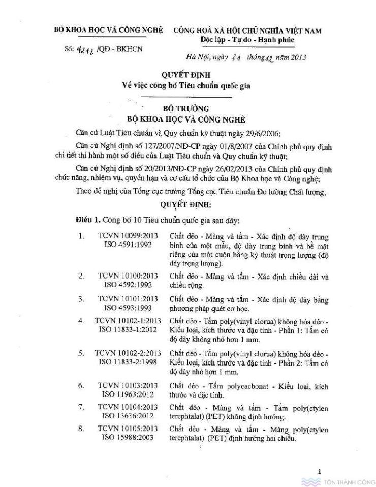 Công bố tiêu chuẩn quốc gia - Tấm polycarbonate - Trang 01