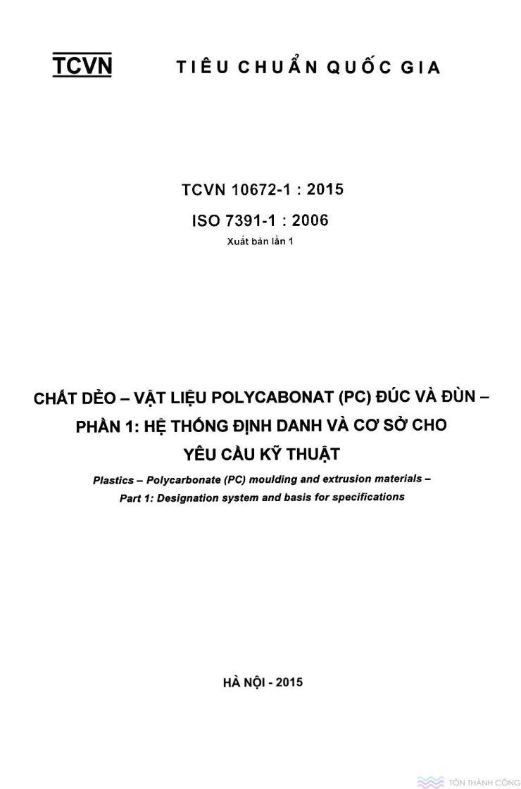 TCVN 10672-1:2015 - Vật liệu polycarbonate - Trang 1